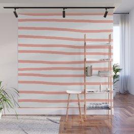 Simply Drawn Stripes Salmon Pink on White Wall Mural