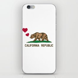 California Republic Bear with Hearts iPhone Skin