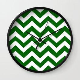 Emerald green - green color - Zigzag Chevron Pattern Wall Clock
