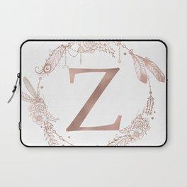 Letter Z Rose Gold Pink Initial Monogram Laptop Sleeve