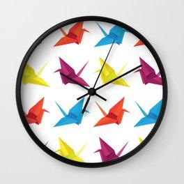 Origami Cranes Pattern Wall Clock