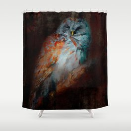 Abstract Barred Owl Shower Curtain