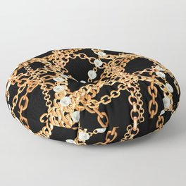 Wrapped in Luxury Gold Chains & Pearl Strands Noir Floor Pillow