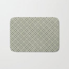Vintage chic green black geometrical floral pattern Bath Mat