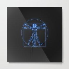 Neon Vitruvian Man Metal Print