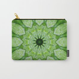 Green Mandala, heart chakra, nature sacred geometry rain drops leaves Carry-All Pouch