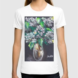 Still-life. Bouquet of white lilac flowers on black background. Pastel drawing. T-shirt
