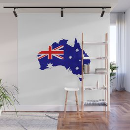 Australian Flag on Country Map Wall Mural