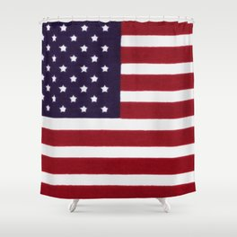 "Stars & Stripes flag, painterly ""old glory"" Shower Curtain"