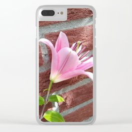Pretty Pink Lily Clear iPhone Case