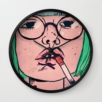 smoke Wall Clocks featuring Smoke by Danielle Feigenbaum