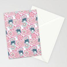 Tiny Elephants in Fields of Flowers Stationery Cards