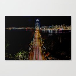 Oakland Bay Bridge by night  Canvas Print