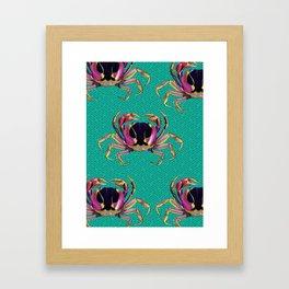 Lucky Aqua Crab Auspicious Sayagata Pattern Framed Art Print