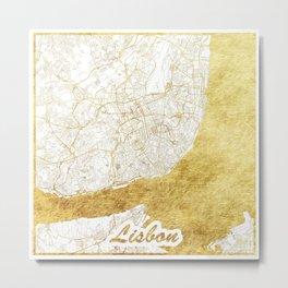 Lisbon Map Gold Metal Print