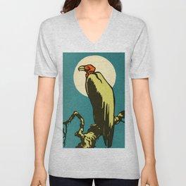 Vintage Animal Illustration of a Vulture Unisex V-Neck