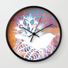 Little Orange Bird Wall Clock