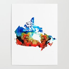 Canada - Canadian Map By Sharon Cummings Poster