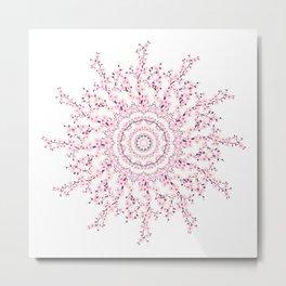 Cherry Blossoms Mandala Metal Print