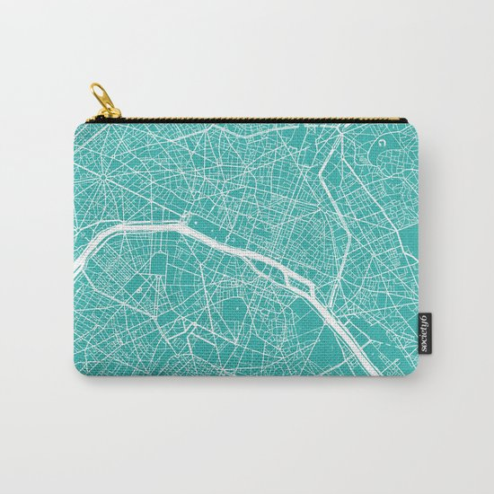 Paris map turquoise Carry-All Pouch