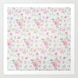 Elegant blush pink white vintage rose floral Kunstdrucke