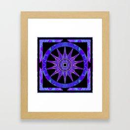 Starlit Purple Nights Abstract Mandala Artwork Framed Art Print