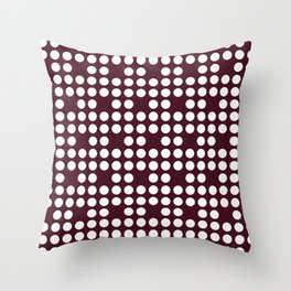 White dots on burgundy red Throw Pillow