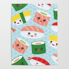 pattern Kawaii funny sushi rolls set with pink cheeks and big eyes, emoji Poster