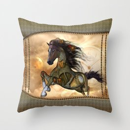 Steampunk, awesome steampunk horse Throw Pillow