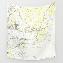 Vintage Map of Kittery Maine (1944) Wall Tapestry