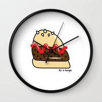 burger Wall Clocks featuring Burger  by shoobox illustrations