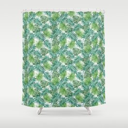 Mini Green Monstera Tropical Plant Pattern Shower Curtain