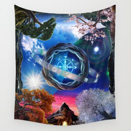 X . The Wheel Tarot Card Illustration Wall Tapestry
