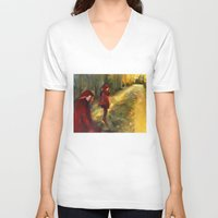 agnes V-neck T-shirts featuring Agnes - Autumn by Dawn Dudek