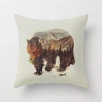 andreas preis Throw Pillows featuring Wild Grizzly Bear by Andreas Lie