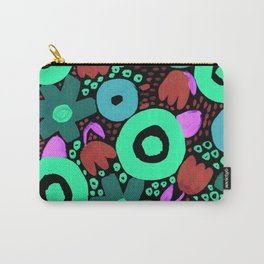 Bold Abstract Floral Inspired Pattern (Red, Teal, Green, Blue, Fuchsia) Carry-All Pouch