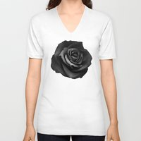 fabric V-neck T-shirts featuring Fabric Rose by Ruben Ireland