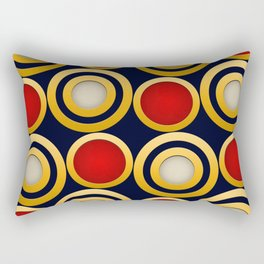 Elegant  Pattern, Striking Gold Rings with Red, Beige and Dark Blue Background Rectangular Pillow