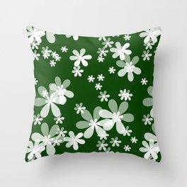 White flowers green background kids Throw Pillow