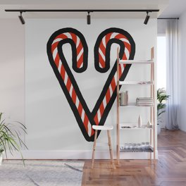 Candy Cane Heart Wall Mural