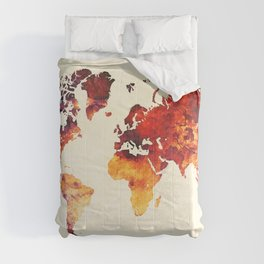 world map 89 art red Comforters