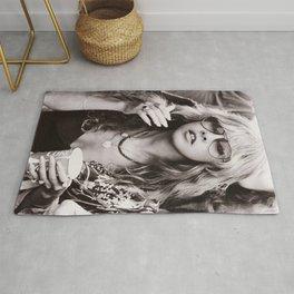 Stevie Nicks Young Black and white Retro Silk Poster Frameless Rug