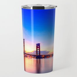 Famous Ampera Bridge Across Musi At Lovely Evening Red Palembang South Sumatra Indonesia UHD Travel Mug