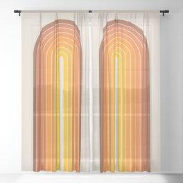 Gradient Arch - Vintage Orange Sheer Curtain
