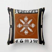 tote bag Throw Pillows featuring Adinkra Symbol Tote Bag by Sarah Pearl