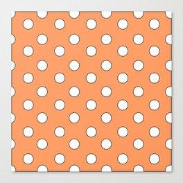 Orange Pastel Polka Dots Canvas Print