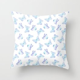 Hand painted pastel teal lavender watercolor butterflies Throw Pillow