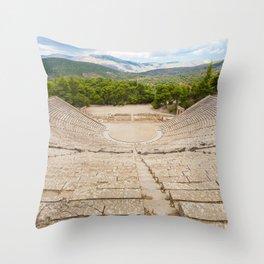 The ancient theater in Epidaurus, Argolis, Greece Throw Pillow