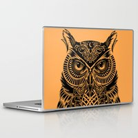 warrior Laptop & iPad Skins featuring Warrior Owl 2 by Rachel Caldwell
