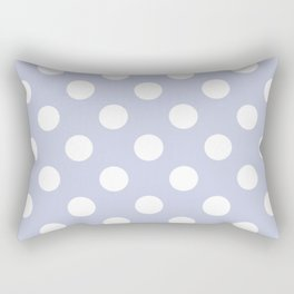 Light periwinkle - grey - White Polka Dots - Pois Pattern Rectangular Pillow